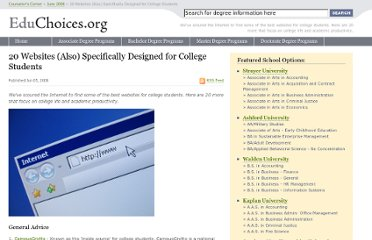 http://educhoices.org/articles/20_Websites_Also_Specifically_Designed_for_College_Students.html