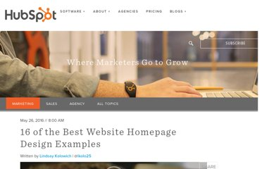 http://blog.hubspot.com/blog/tabid/6307/bid/34006/15-Examples-of-Brilliant-Homepage-Design.aspx