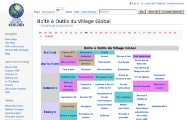 http://opensourceecology.org/wiki/Global_Village_Construction_Set/fr