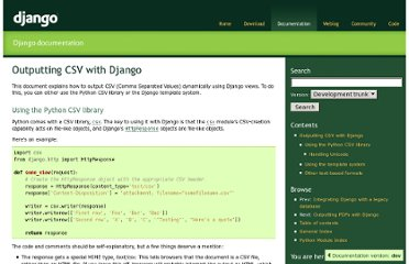 https://docs.djangoproject.com/en/dev/howto/outputting-csv/