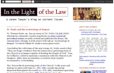 http://canonlawblog.blogspot.com/2010/08/fr-doyle-and-ecclesiology-of-despair.html
