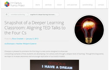 http://fluency21.com/blog/2013/01/05/snapshot-of-a-deeper-learning-classroom-aligning-ted-talks-to-the-four-cs/
