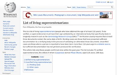 http://en.wikipedia.org/wiki/List_of_living_supercentenarians#Verified_living_supercentenarians