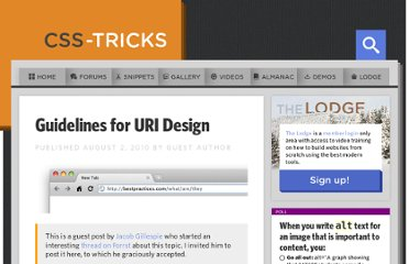 http://css-tricks.com/guidelines-for-uri-design/
