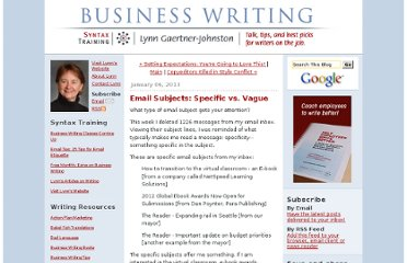 http://www.businesswritingblog.com/business_writing/2013/01/email-subjects-specific-vs-vague.html