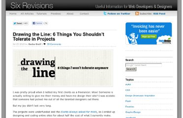 http://sixrevisions.com/project-management/drawing-the-line-6-things-you-shouldnt-tolerate-in-projects/
