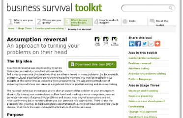 http://business-survival-toolkit.co.uk/stage-three/creative-problem-solving/assumption-reversal/