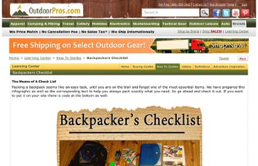 http://www.outdoorpros.com/How-To-Guides/Backpackers-Checklist/178/