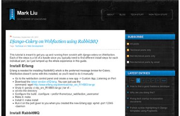 http://www.markliu.me/2011/sep/29/django-celery-on-webfaction-using-rabbitmq/