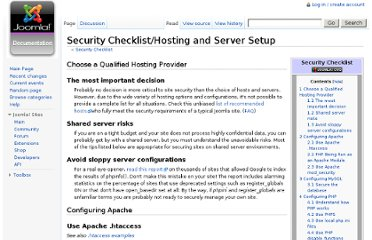 http://docs.joomla.org/Security_Checklist/Hosting_and_Server_Setup