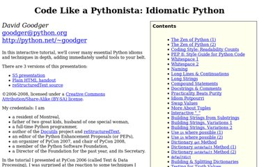 http://python.net/~goodger/projects/pycon/2007/idiomatic/handout.html