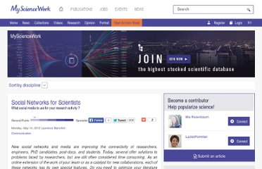 http://www.mysciencework.com/en/MyScienceNews/6400/social-networks-for-scientists