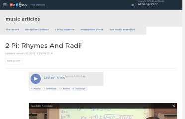 http://www.npr.org/2013/01/08/167471106/2-pi-rhymes-and-radii