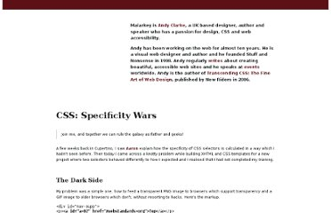 http://www.stuffandnonsense.co.uk/archives/css_specificity_wars.html#