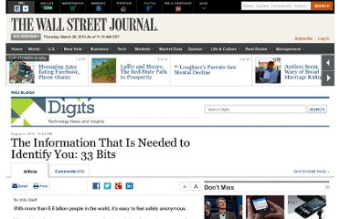 http://blogs.wsj.com/digits/2010/08/04/the-information-that-is-needed-to-identify-you-33-bits/