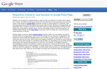 http://google-latlong.blogspot.com/2010/08/respond-to-reviews-for-your-business-on.html