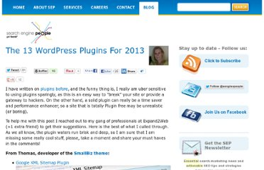 http://www.searchenginepeople.com/blog/the-13-wordpress-plugins-for-2013.html