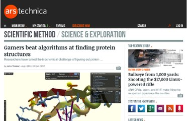 http://arstechnica.com/science/news/2010/08/gamers-beat-algorithms-for-finding-protein-structures.ars