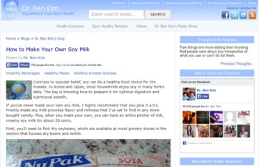 http://drbenkim.com/how-to-make-soy-milk.htm