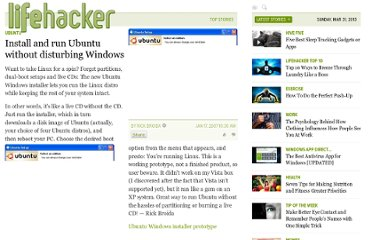 http://lifehacker.com/228956/install-and-run-ubuntu-without-disturbing-windows