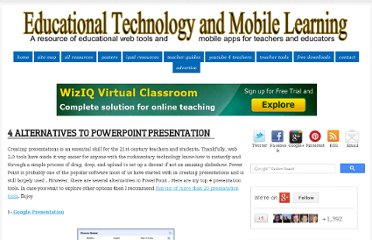http://www.educatorstechnology.com/2013/01/4-alternatives-to-powerpoint.html