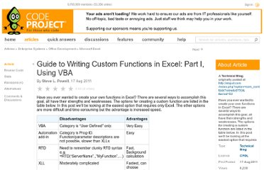 http://www.codeproject.com/Articles/241485/Guide-to-Writing-Custom-Functions-in-Excel-Part-I