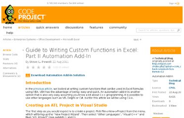 http://www.codeproject.com/Articles/243351/Guide-to-Writing-Custom-Functions-in-Excel-Part-II