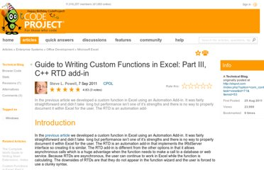 http://www.codeproject.com/Articles/245265/Guide-to-Writing-Custom-Functions-in-Excel-Part-II