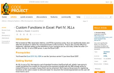 http://www.codeproject.com/Articles/420546/Custom-Functions-in-Excel-Part-IV-XLLs