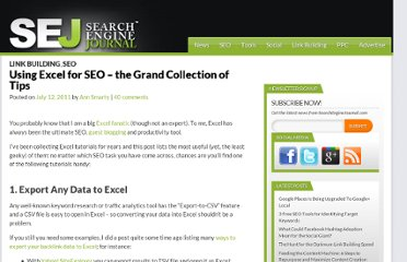 http://www.searchenginejournal.com/using-excel-for-seo-the-grand-collection-of-tips/23077/