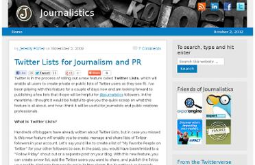 http://blog.journalistics.com/2009/twitter-lists-for-journalism-and-pr/