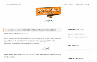 http://www.gonzoblog.nl/2013/01/16/11-useful-css-code-snippets-for-responsive-web-design/