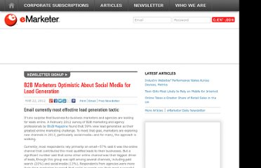 http://www.emarketer.com/Article/B2B-Marketers-Optimistic-About-Social-Media-Lead-Generation/1008920