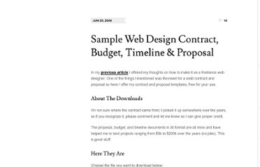 http://nerdburn.com/entries/tips-for-freelancers/sample-web-design-contract-budget-timeline-proposal