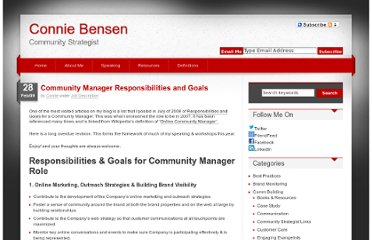 http://conniebensen.com/2009/02/28/community-manager-responsibilities-and-goals/
