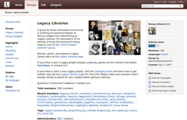 http://www.librarything.com/groups/iseedeadpeoplesbooks