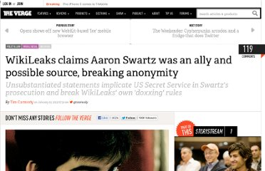 http://www.theverge.com/2013/1/19/3893268/wikileaks-tweets-aaron-swartz-was-ally-and-possibly-source