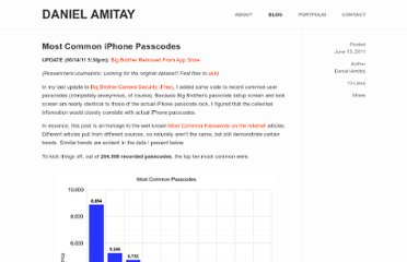 http://danielamitay.com/blog/2011/6/13/most-common-iphone-passcodes