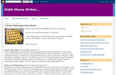 http://mathmamawrites.blogspot.com/2009/06/dozen-delectable-math-books.html