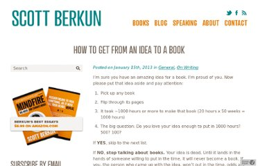 http://scottberkun.com/2013/how-to-get-from-an-idea-to-a-book/