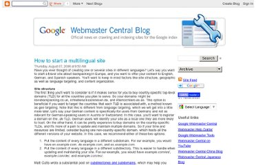 http://googlewebmastercentral.blogspot.com/2008/08/how-to-start-multilingual-site.html