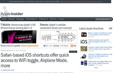 http://appleinsider.com/articles/11/11/15/safari_based_ios_shortcuts_offer_quick_access_to_bluetooth_airplane_mode_more