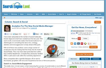 http://searchengineland.com/analytics-for-the-new-social-media-manager-144249