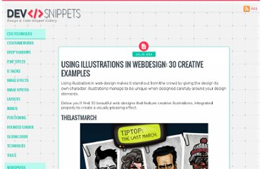 http://devsnippets.com/article/using-illustrations-in-webdesign-30-creative-examples.html