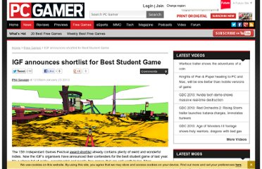http://www.pcgamer.com/2013/01/23/igf-announces-shortlist-for-best-student-game/