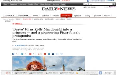 http://www.nydailynews.com/entertainment/tv-movies/brave-turns-kelly-macdonald-princess-pioneering-pixar-female-protagonist-article-1.1095787