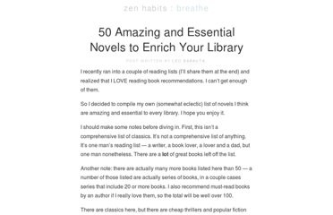 http://zenhabits.net/50-amazing-and-essential-novels-to-enrich-your-library/