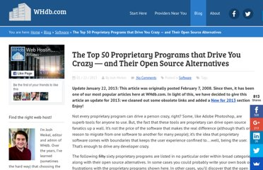 http://whdb.com/blog/2008/the-top-50-proprietary-programs-that-drive-you-crazy-and-their-open-source-alternatives/