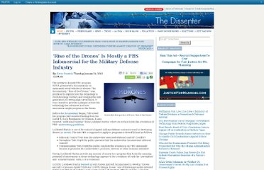 http://dissenter.firedoglake.com/2013/01/24/rise-of-the-drones-is-mostly-a-pbs-infomercial-for-the-military-defense-industry/