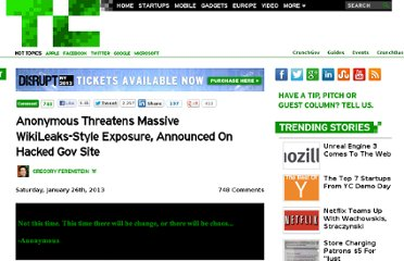 http://techcrunch.com/2013/01/26/anonymous-threatens-massive-wikileaks-style-exposure-announced-on-hacked-gov-site/